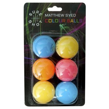 Matthew Syed Coloured 6pk Table Tennis Balls