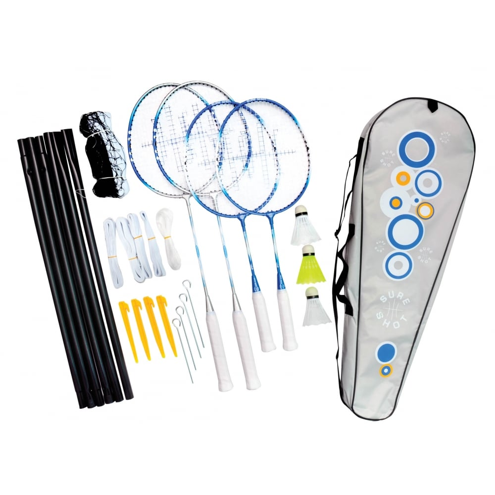 4 Player Pack with net rackets Sure Shot Family Home Garden Park Badminton Set